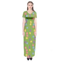 Balloon Grass Party Green Purple Short Sleeve Maxi Dress