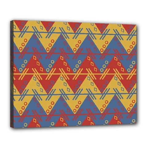Aztec South American Pattern Zig Zag Canvas 20  X 16