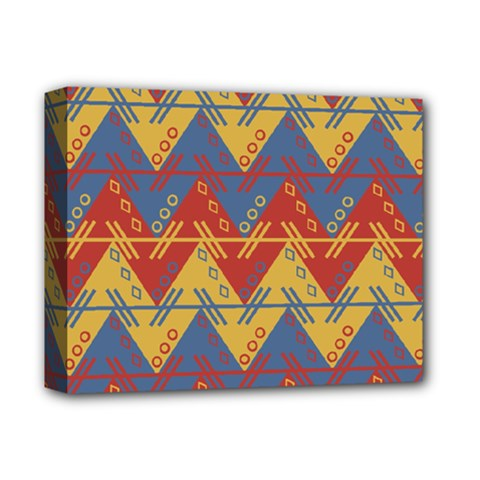 Aztec South American Pattern Zig Zag Deluxe Canvas 14  x 11