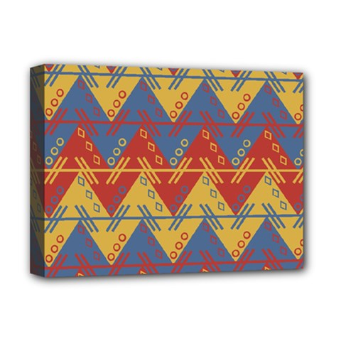 Aztec South American Pattern Zig Zag Deluxe Canvas 16  x 12
