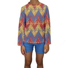 Aztec South American Pattern Zig Zag Kids  Long Sleeve Swimwear