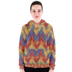 Aztec South American Pattern Zig Zag Women s Zipper Hoodie