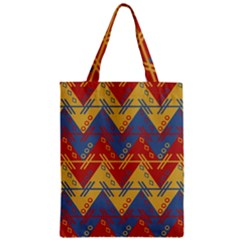 Aztec South American Pattern Zig Zag Zipper Classic Tote Bag