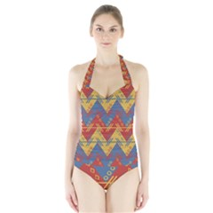 Aztec South American Pattern Zig Zag Halter Swimsuit