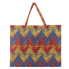Aztec South American Pattern Zig Zag Zipper Large Tote Bag