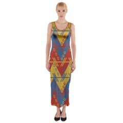 Aztec South American Pattern Zig Zag Fitted Maxi Dress
