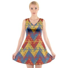 Aztec South American Pattern Zig Zag V Neck Sleeveless Skater Dress