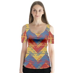 Aztec South American Pattern Zig Zag Butterfly Sleeve Cutout Tee