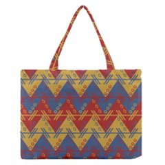 Aztec South American Pattern Zig Zag Medium Zipper Tote Bag