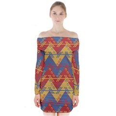 Aztec South American Pattern Zig Zag Long Sleeve Off Shoulder Dress