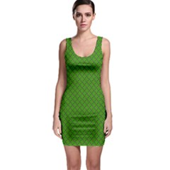 Paper Pattern Green Scrapbooking Sleeveless Bodycon Dress
