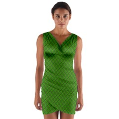 Paper Pattern Green Scrapbooking Wrap Front Bodycon Dress