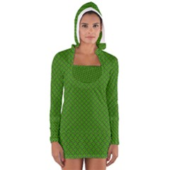 Paper Pattern Green Scrapbooking Women s Long Sleeve Hooded T-shirt