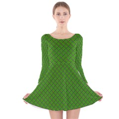 Paper Pattern Green Scrapbooking Long Sleeve Velvet Skater Dress