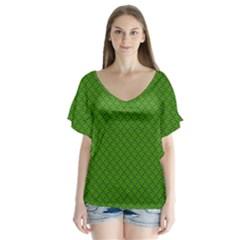 Paper Pattern Green Scrapbooking Flutter Sleeve Top