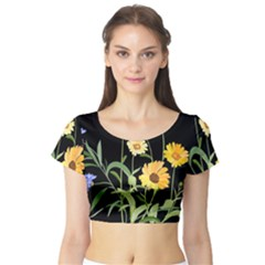 Flowers Of The Field Short Sleeve Crop Top (tight Fit)