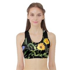 Flowers Of The Field Sports Bra With Border