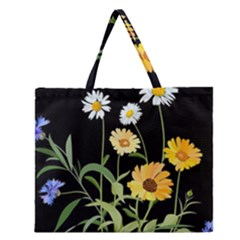 Flowers Of The Field Zipper Large Tote Bag