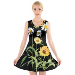 Flowers Of The Field V Neck Sleeveless Skater Dress