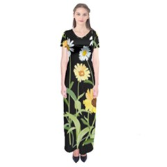Flowers Of The Field Short Sleeve Maxi Dress
