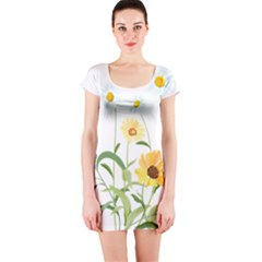 Flowers Flower Of The Field Short Sleeve Bodycon Dress