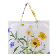 Flowers Flower Of The Field Zipper Large Tote Bag