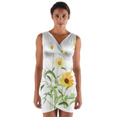 Flowers Flower Of The Field Wrap Front Bodycon Dress