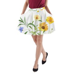 Flowers Flower Of The Field A-Line Pocket Skirt