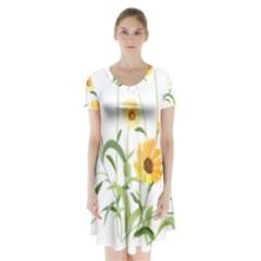 Flowers Flower Of The Field Short Sleeve V-neck Flare Dress
