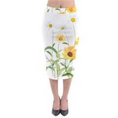 Flowers Flower Of The Field Midi Pencil Skirt