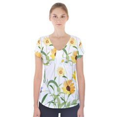 Flowers Flower Of The Field Short Sleeve Front Detail Top