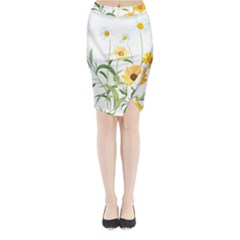 Flowers Flower Of The Field Midi Wrap Pencil Skirt