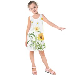 Flowers Flower Of The Field Kids  Sleeveless Dress