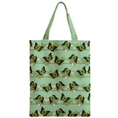 Green Butterflies Zipper Classic Tote Bag
