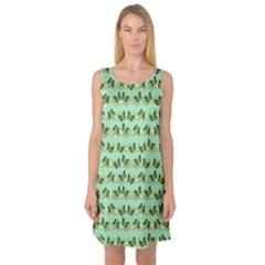 Green Butterflies Sleeveless Satin Nightdress