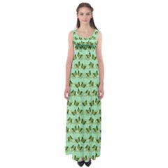 Green Butterflies Empire Waist Maxi Dress