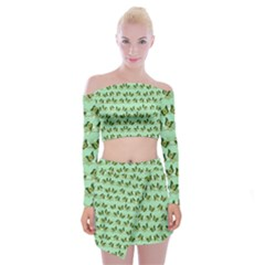 Green Butterflies Off Shoulder Top With Skirt Set