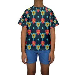 Connected shapes pattern           Kid s Short Sleeve Swimwear