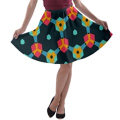 Connected shapes pattern          A-line Skater Skirt