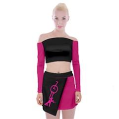 Zouk Black/pink Off Shoulder Top With Skirt Set