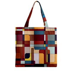 Patchwork Zipper Grocery Tote Bag