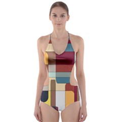 Patchwork Cut-Out One Piece Swimsuit