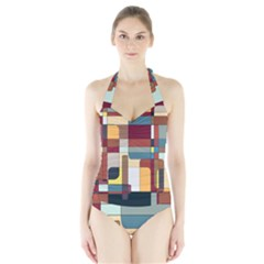 Patchwork Halter Swimsuit