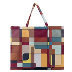 Patchwork Zipper Large Tote Bag