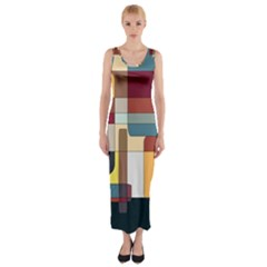 Patchwork Fitted Maxi Dress