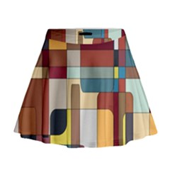 Patchwork Mini Flare Skirt