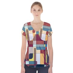 Patchwork Short Sleeve Front Detail Top