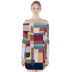 Patchwork Long Sleeve Off Shoulder Dress