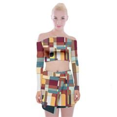 Patchwork Off Shoulder Top With Skirt Set