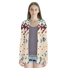 Squares in retro colors   Drape Collar Cardigan